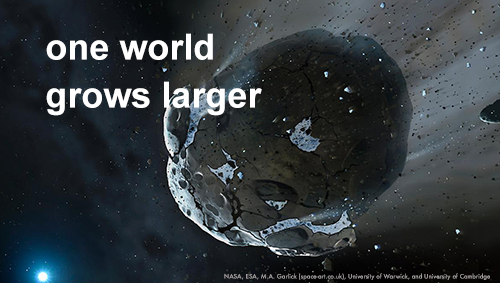 One World Grows Larger (asteroid hurtling through space with distant sun in background)